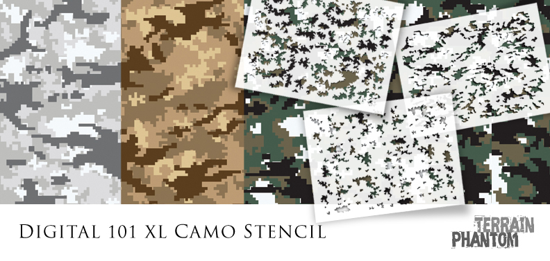 graphic about Printable Camo Stencils called Terrain Phantom Camouflage Stencil the shop
